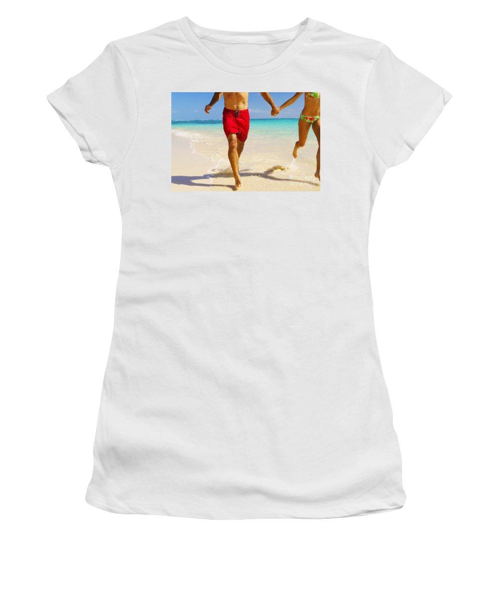 Active Women's T-Shirt (Athletic Fit) featuring the photograph Lanikai Beach by Dana Edmunds - Printscapes