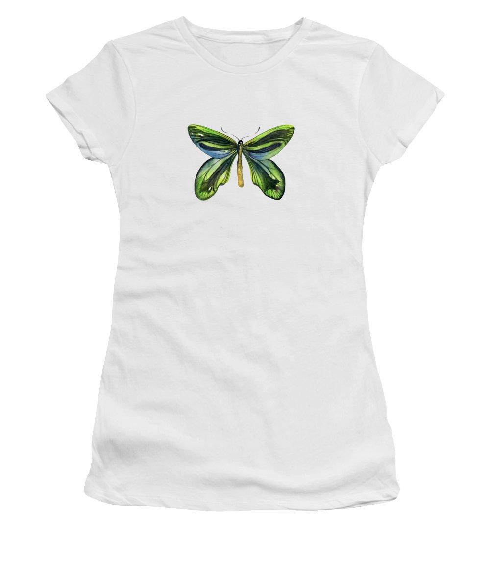 Queen Alexandra Butterfly Women's T-Shirt featuring the painting 6 Queen Alexandra Butterfly by Amy Kirkpatrick