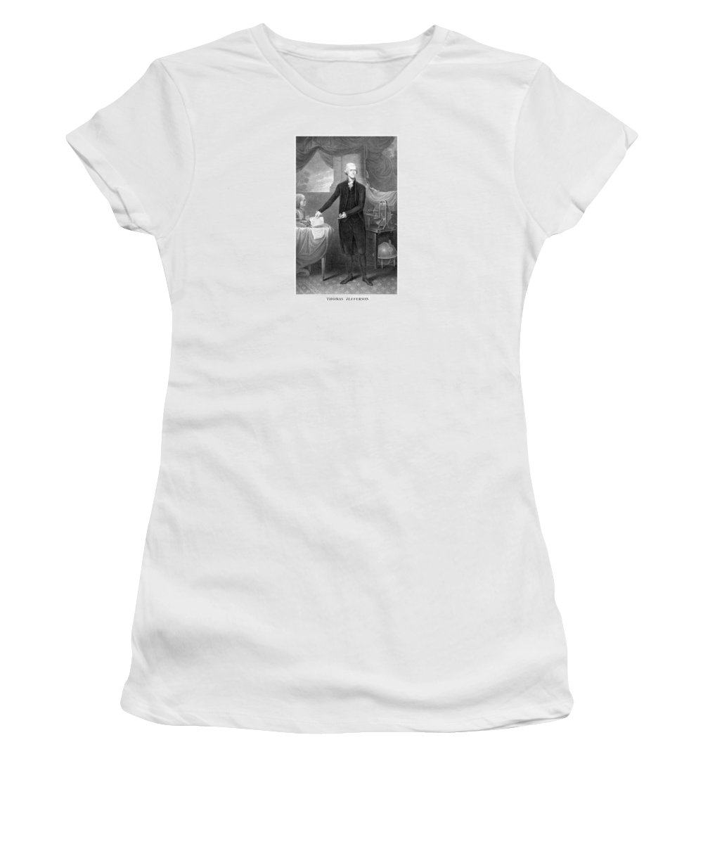 Thomas Jefferson Women's T-Shirt (Athletic Fit) featuring the mixed media Thomas Jefferson by War Is Hell Store