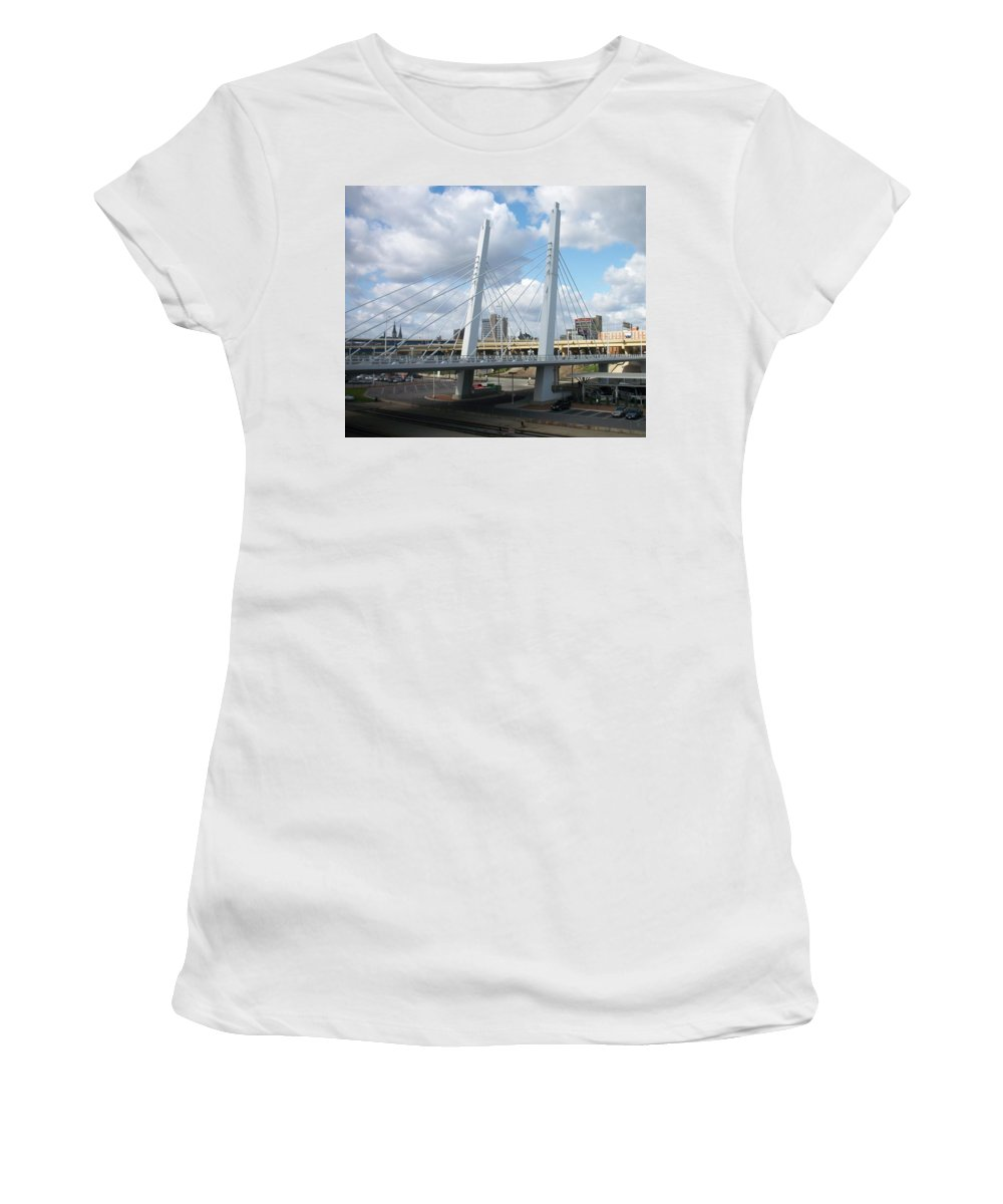 Bridge Women's T-Shirt (Athletic Fit) featuring the photograph 6th Street Bridge by Anita Burgermeister