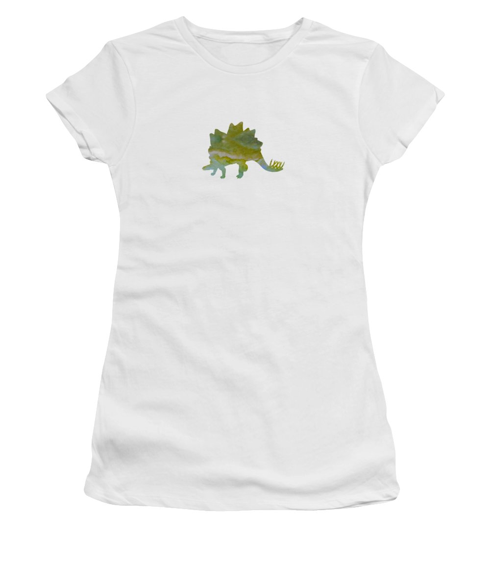 Dinosaur Women's T-Shirt (Athletic Fit) featuring the painting Stegosaurus by Steph J Marten