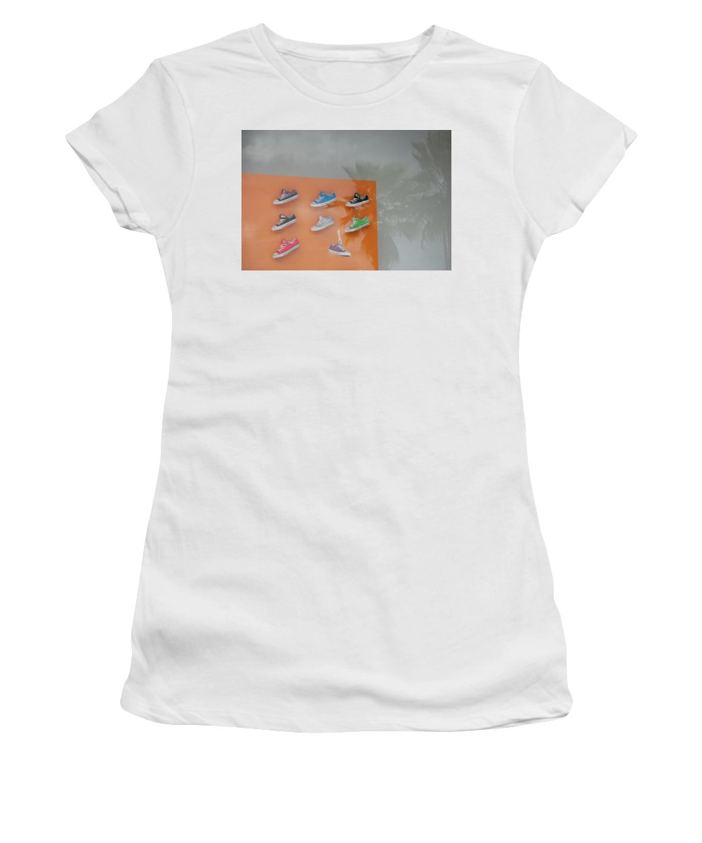 Orange Women's T-Shirt (Athletic Fit) featuring the photograph 8 Sneakers by Rob Hans