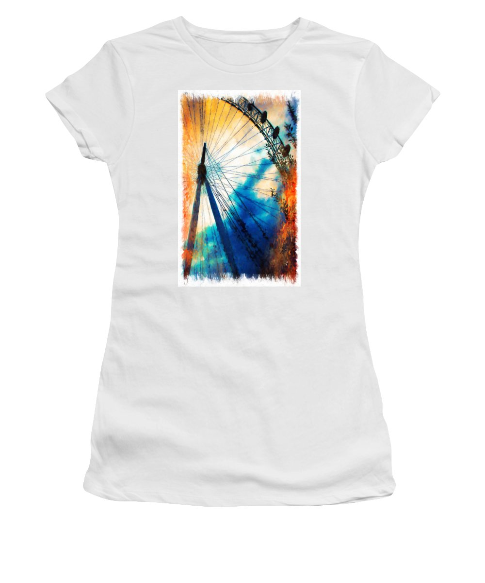 Prater Women's T-Shirt featuring the painting A Big Wheel Roller Coaster Ride Under A Sunset by Jeelan Clark