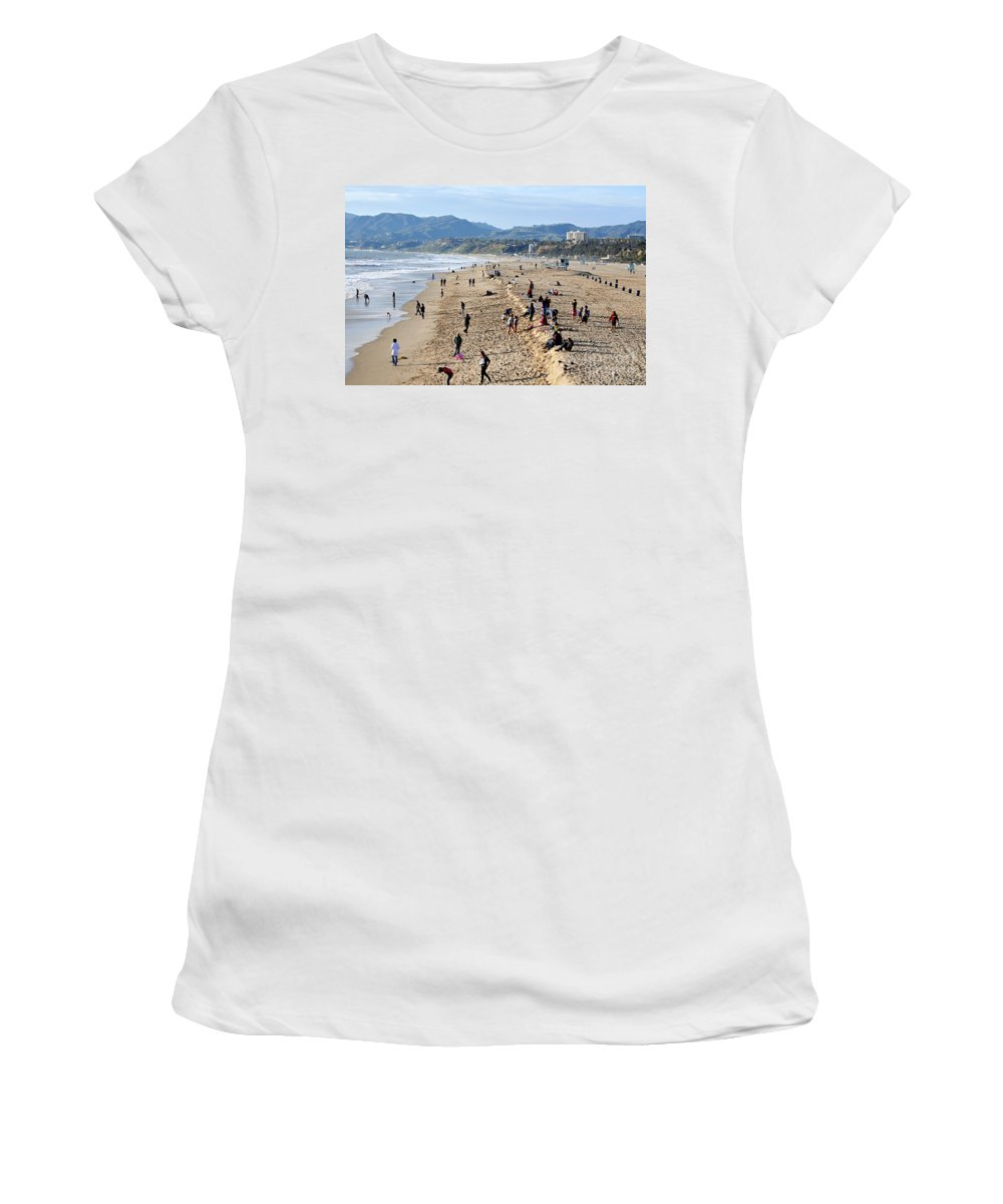 Clay Women's T-Shirt (Athletic Fit) featuring the photograph A Day At The Beach In Santa Monica by Clayton Bruster