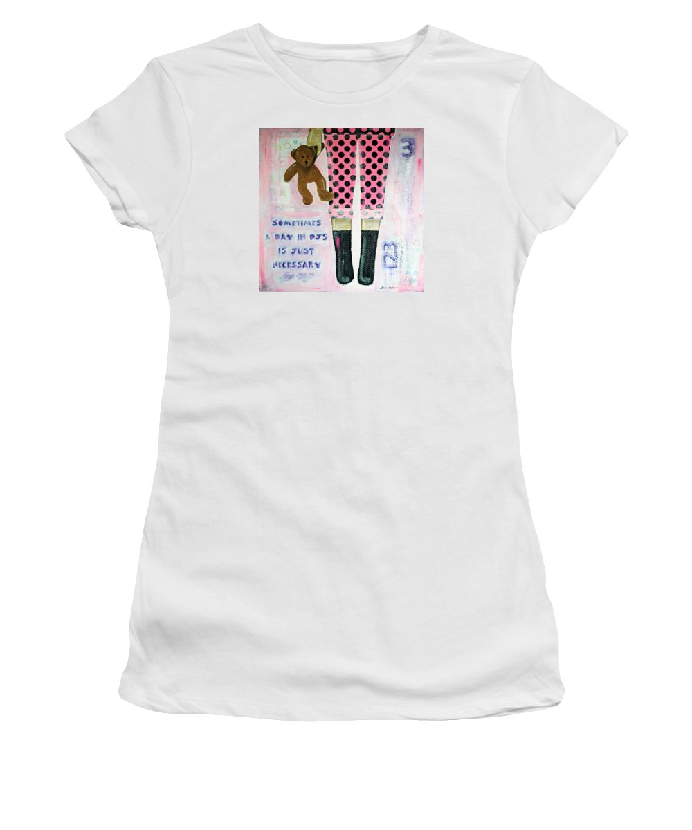 Pink Women's T-Shirt featuring the mixed media A Day In Pjs by Donine Wellman