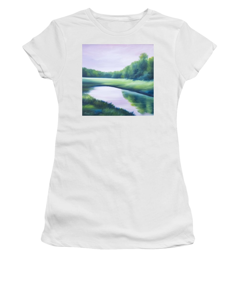 Nature; Lake; Sunset; Sunrise; Serene; Forest; Trees; Water; Ripples; Clearing; Lagoon; James Christopher Hill; Jameshillgallery.com; Foliage; Sky; Realism; Oils; Green; Tree; Blue; Pink; Pond; Lake Women's T-Shirt featuring the painting A Day In The Life 1 by James Christopher Hill