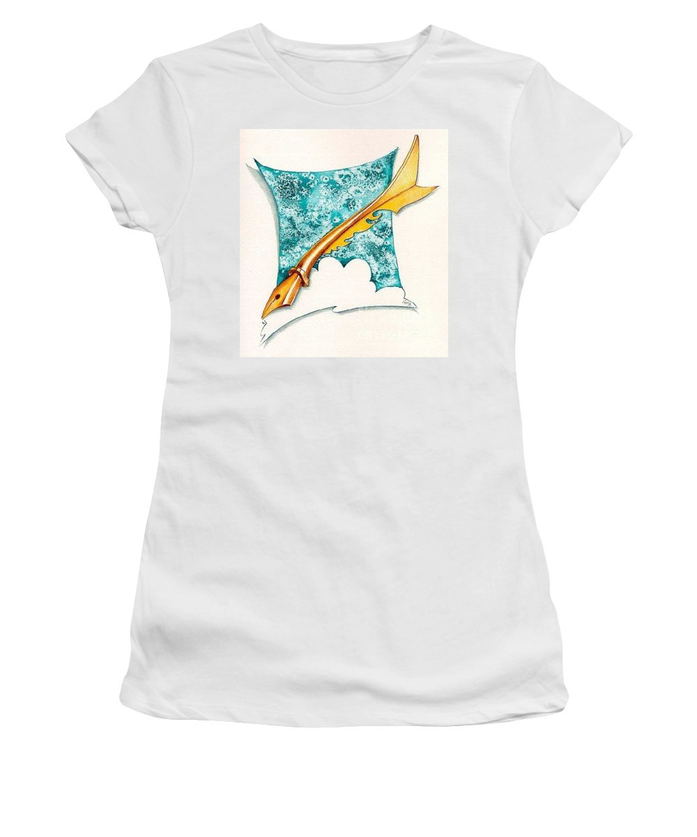 Message Women's T-Shirt (Athletic Fit) featuring the drawing A Message For You by Ilaria Andreucci