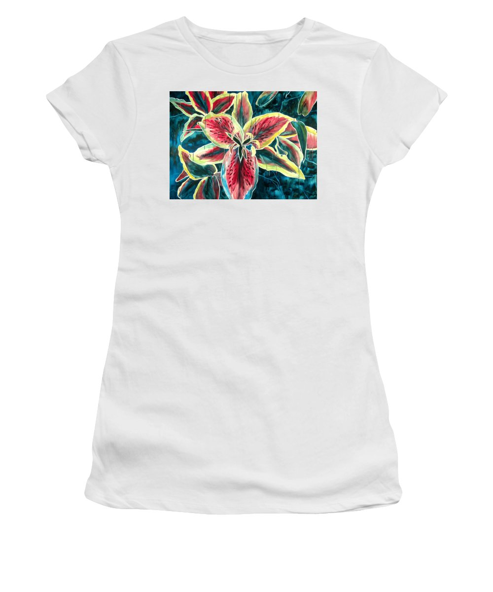 Floral Painting Women's T-Shirt (Athletic Fit) featuring the painting A New Day by Jennifer McDuffie