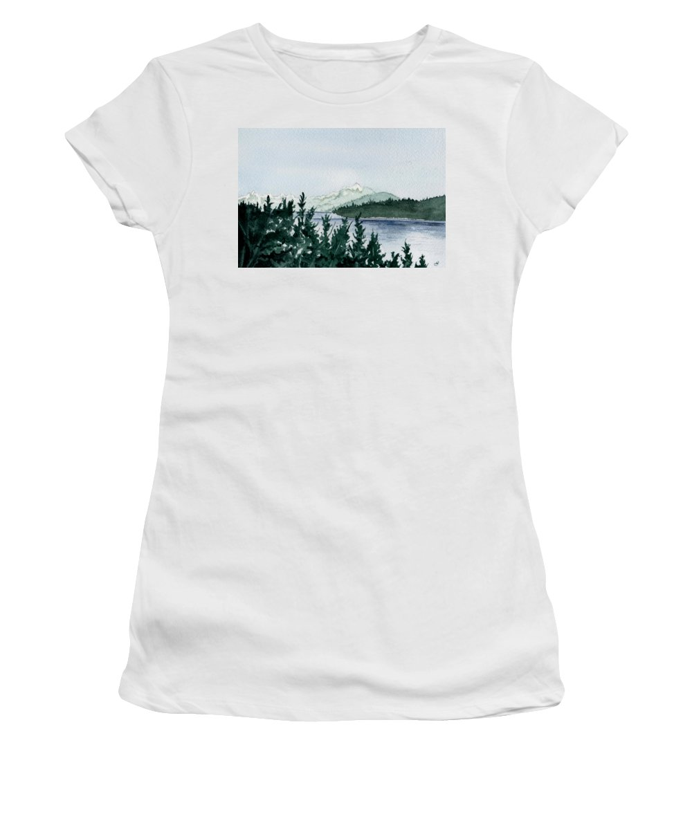 Landscape Women's T-Shirt featuring the painting A Peaceful Place by Brenda Owen