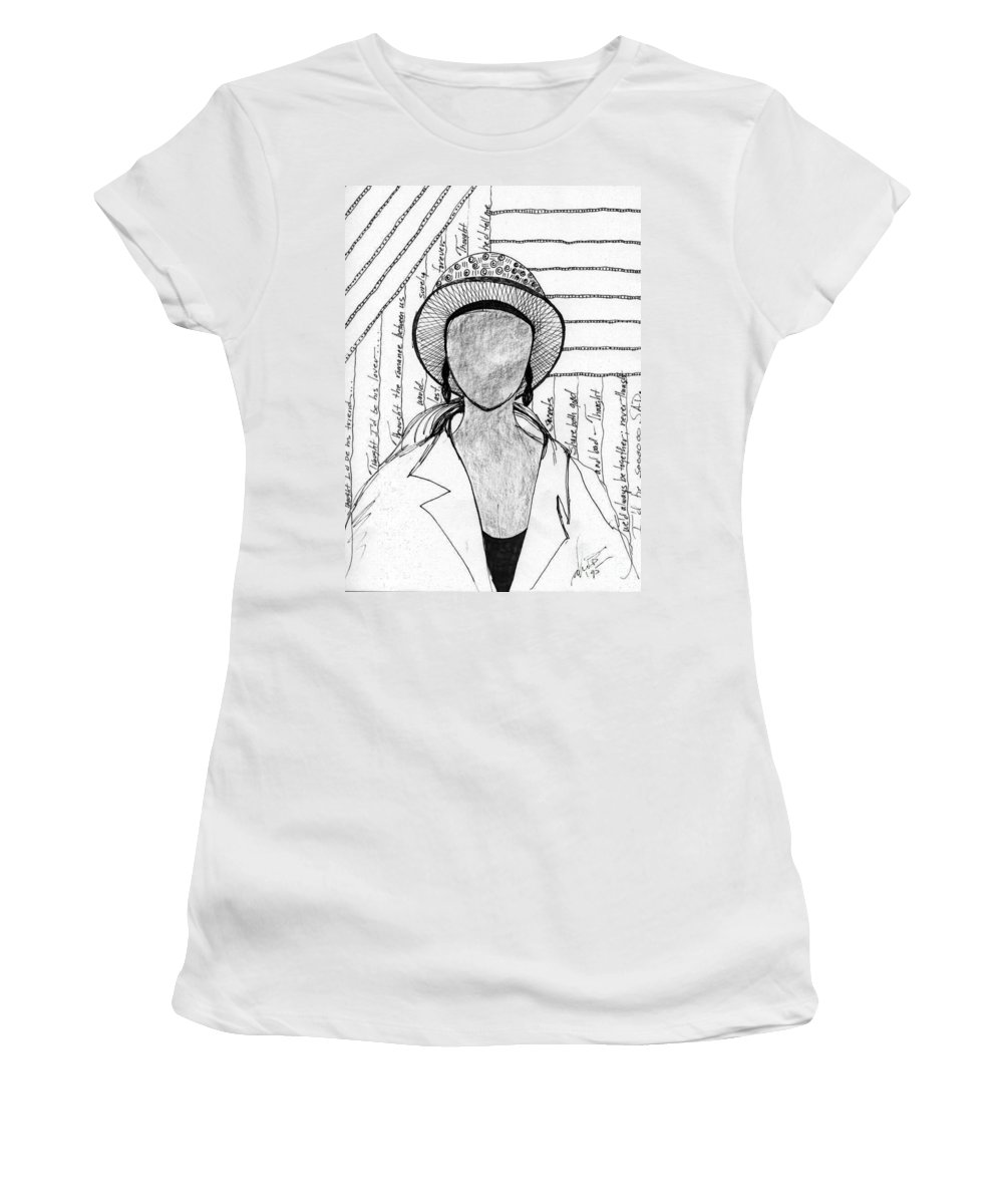 Poems Women's T-Shirt featuring the drawing A Sad Woman by Angela L Walker