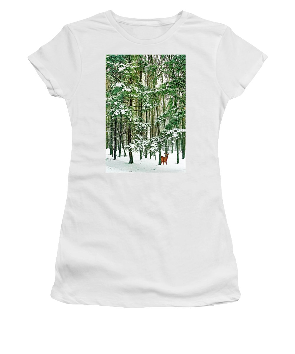 Deer Women's T-Shirt (Athletic Fit) featuring the photograph A Snowy Day by Steve Harrington