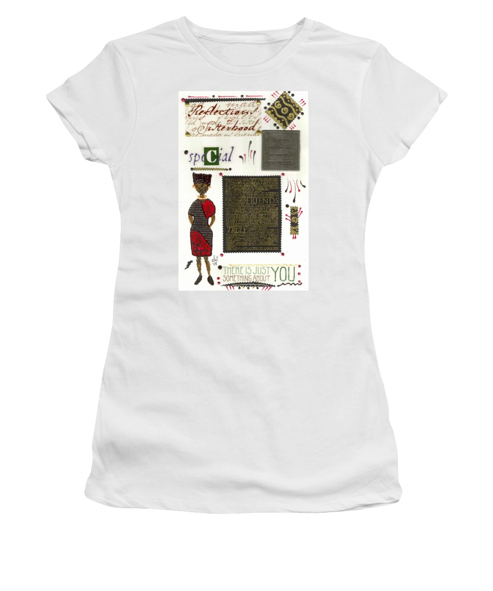 Gretting Cards Women's T-Shirt (Athletic Fit) featuring the mixed media A Special Friend by Angela L Walker