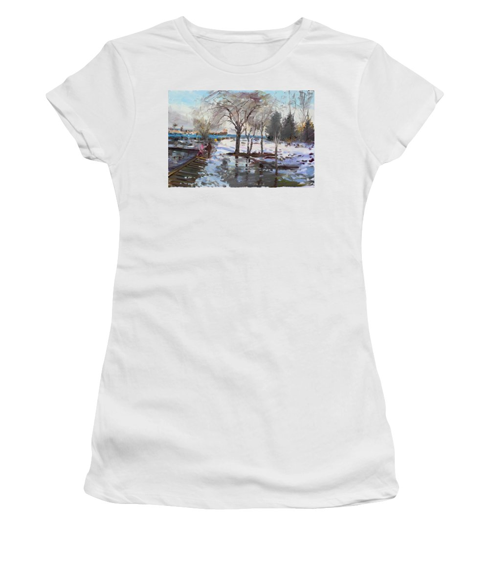 Landscape Women's T-Shirt (Athletic Fit) featuring the painting A Sunny Freezing Day by Ylli Haruni