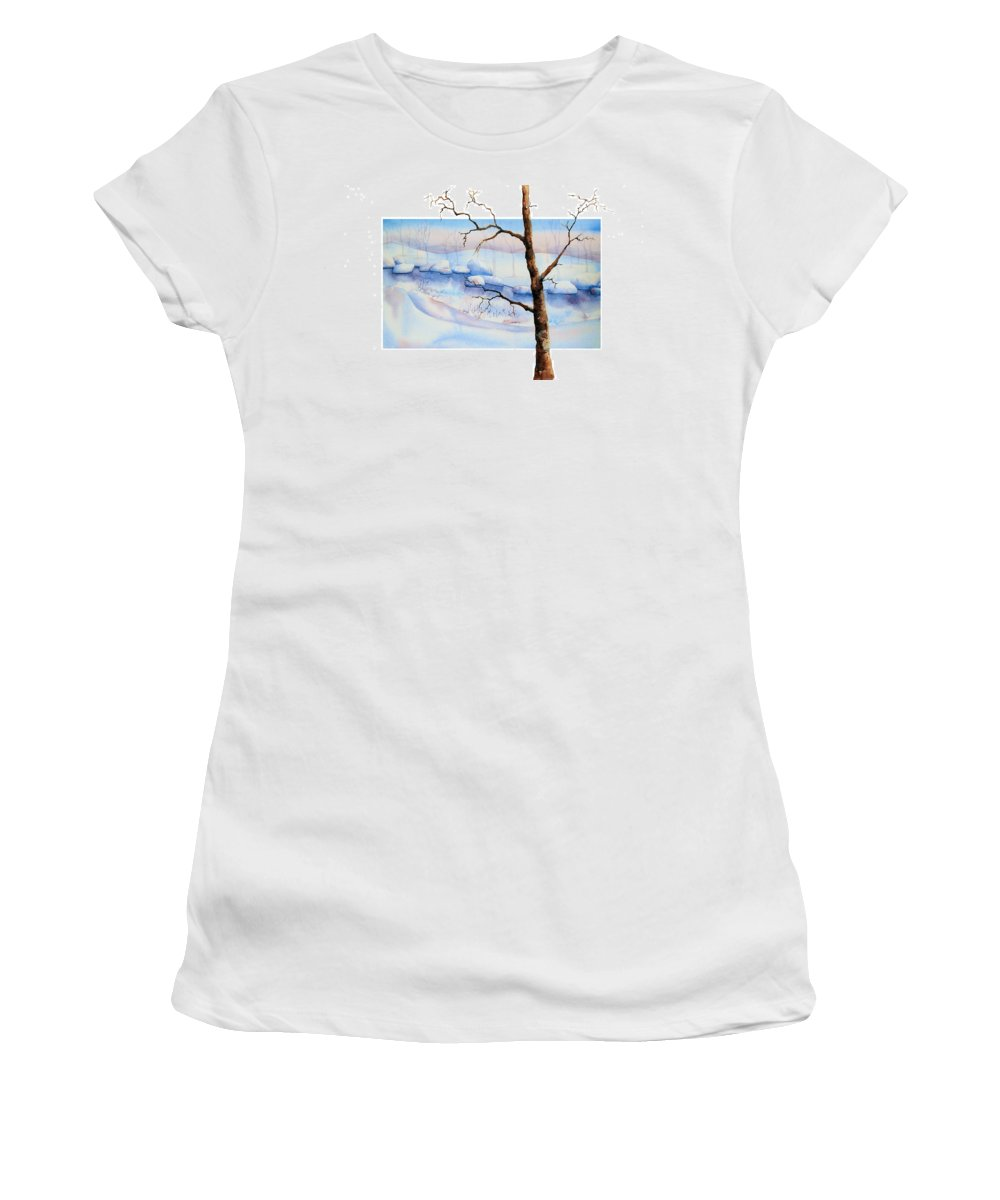 Tree Women's T-Shirt (Athletic Fit) featuring the painting A Tree In Another Dimension by Debbie Lewis