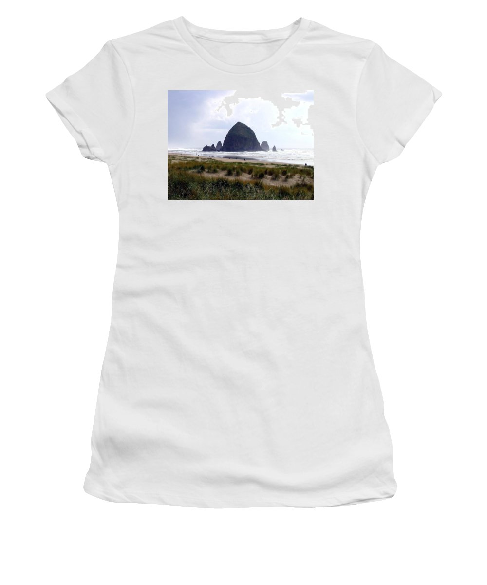 Cannon Beach Women's T-Shirt (Athletic Fit) featuring the photograph A Walk In The Mist by Will Borden