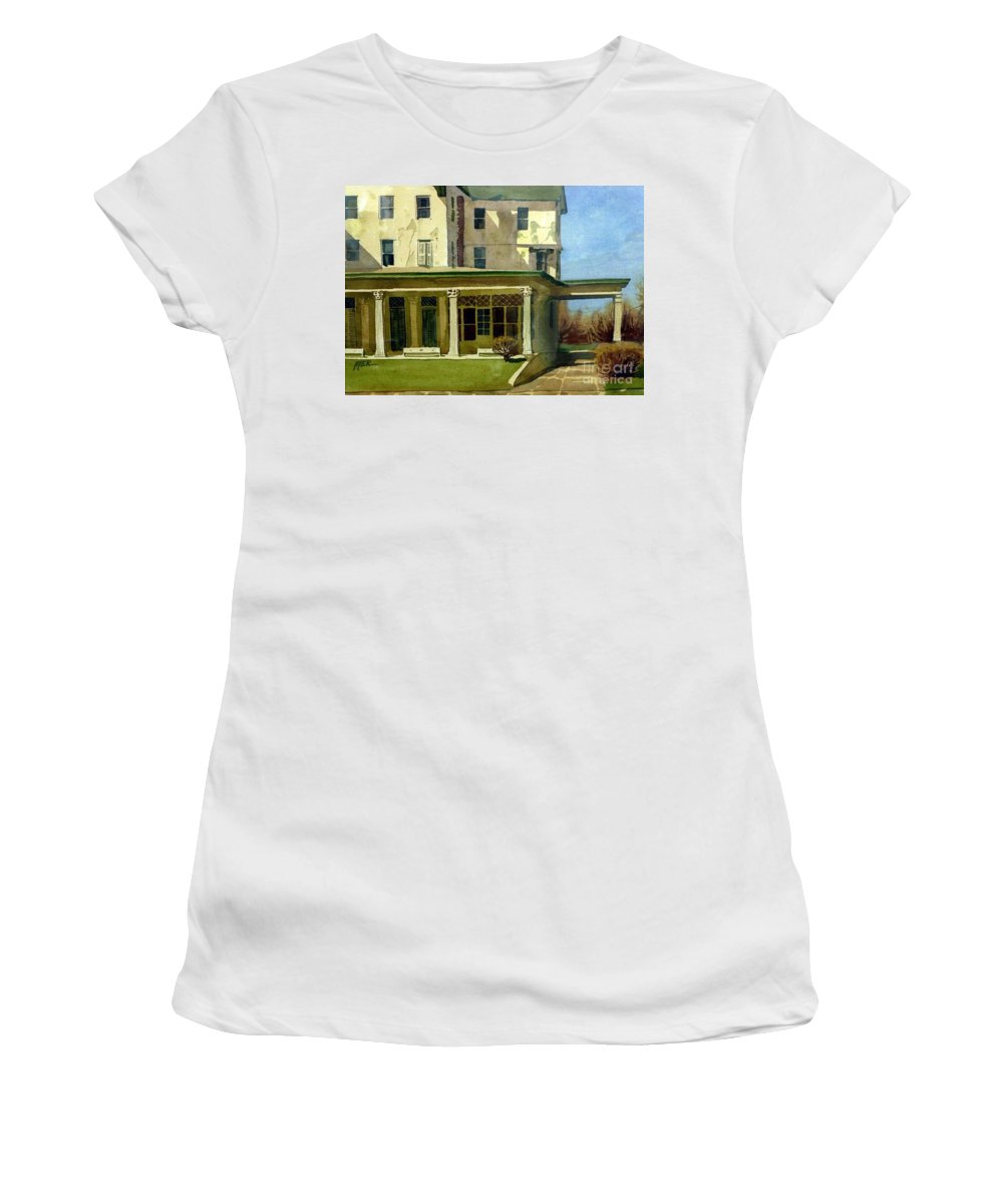 Spring Lake Women's T-Shirt featuring the painting Abandoned Hotel by Donald Maier