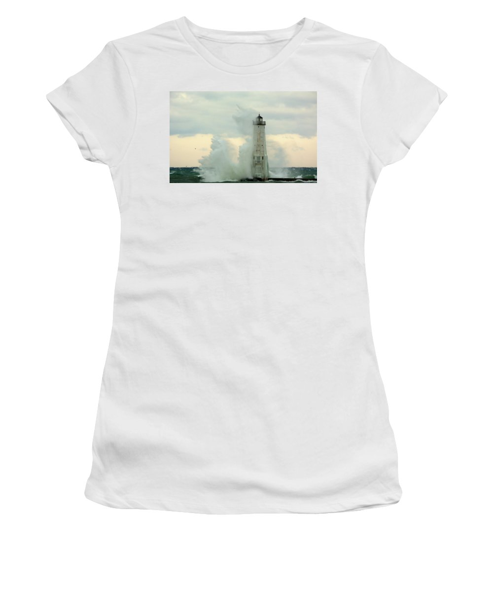 Great Lake Women's T-Shirt (Athletic Fit) featuring the photograph Above The Top by Linda Kerkau