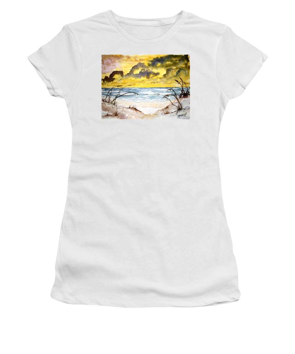 Beach Women's T-Shirt (Athletic Fit) featuring the painting Abstract Beach Sand Dunes by Derek Mccrea