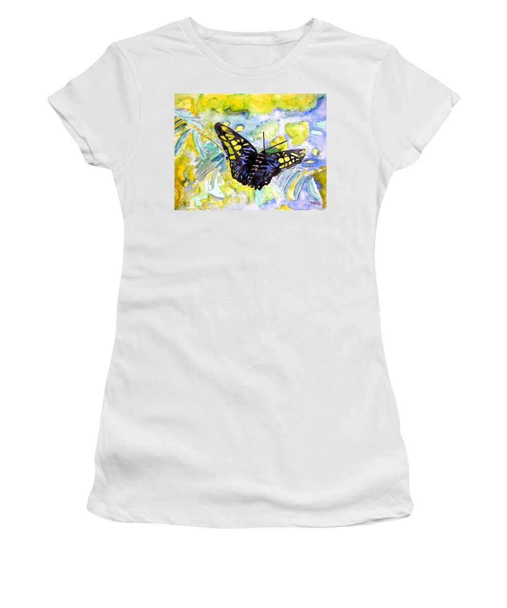 Abstract Women's T-Shirt (Athletic Fit) featuring the painting Abstract Butterfly by Derek Mccrea