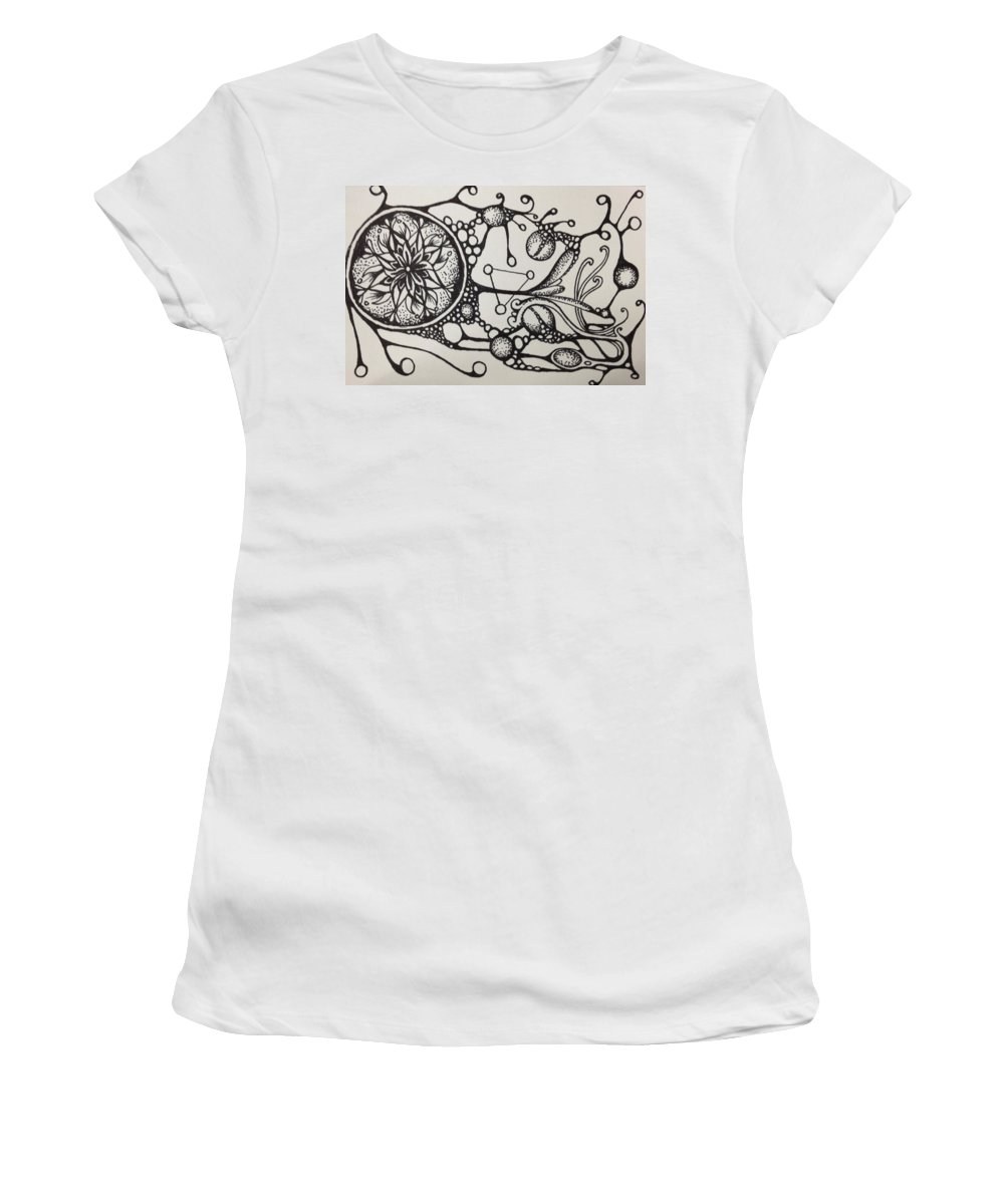 Abstract Women's T-Shirt (Athletic Fit) featuring the drawing Abstract Drawing by Kyle Bowen