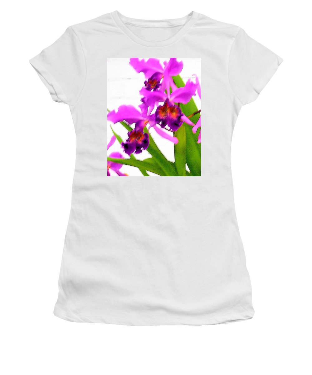 Flowers Women's T-Shirt (Athletic Fit) featuring the digital art Abstract Iris by Anita Burgermeister