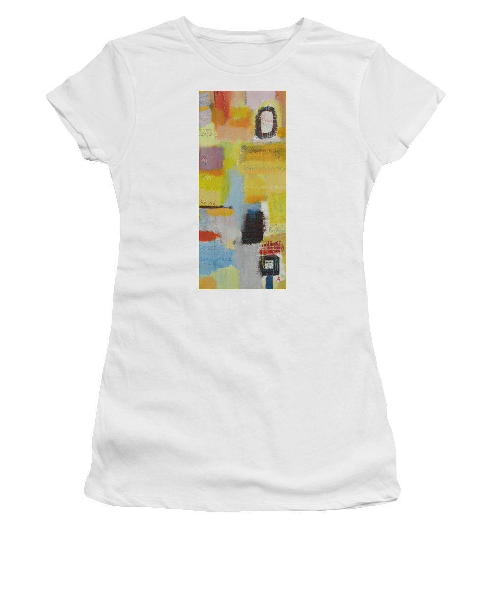 Abstract Women's T-Shirt (Athletic Fit) featuring the painting Abstract Life 3 by Habib Ayat