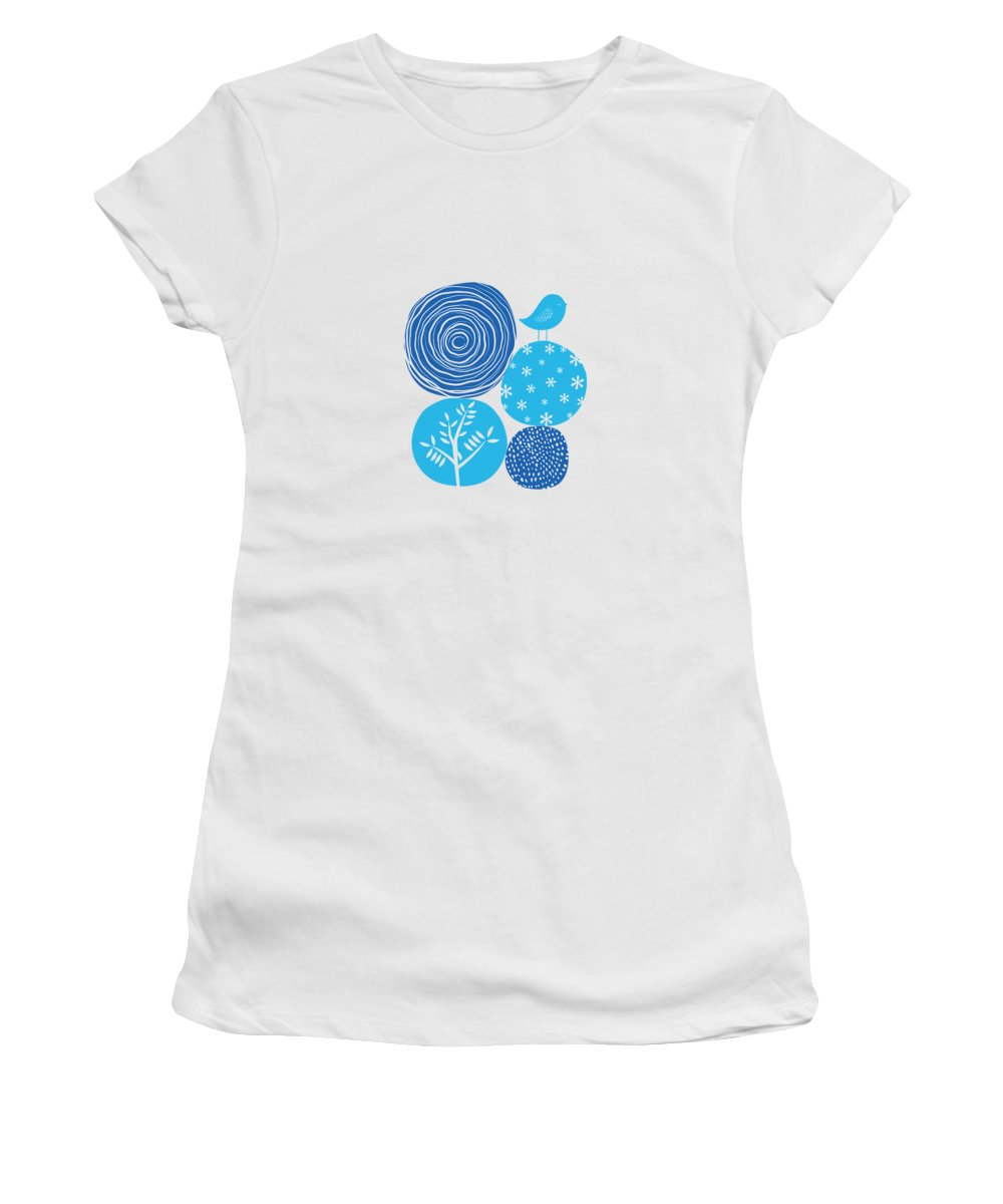Nature Women's T-Shirt featuring the digital art Abstract Nature Blue by BONB Creative