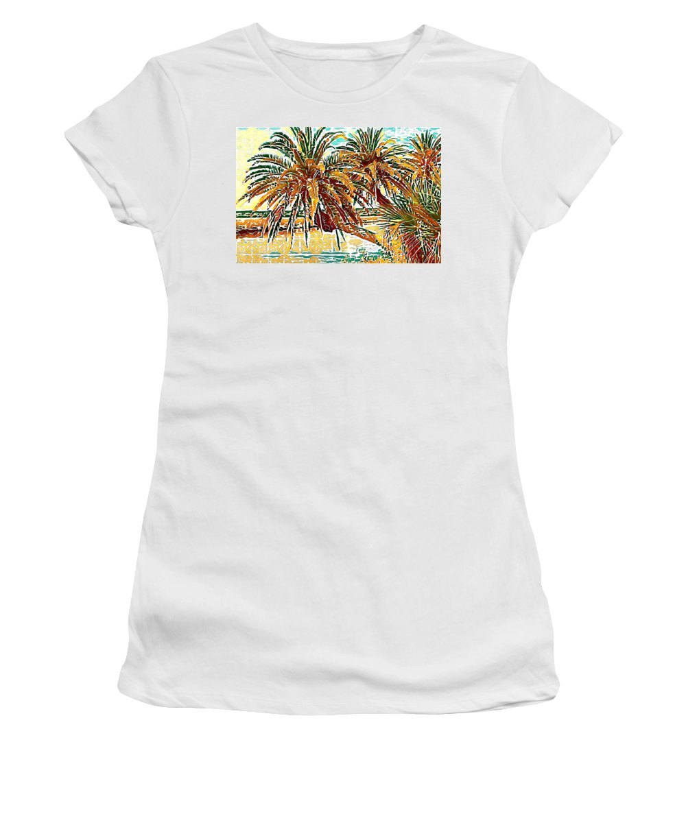 Alicegipsonphotographs Women's T-Shirt featuring the photograph Abstracted Loop Palms by Alice Gipson