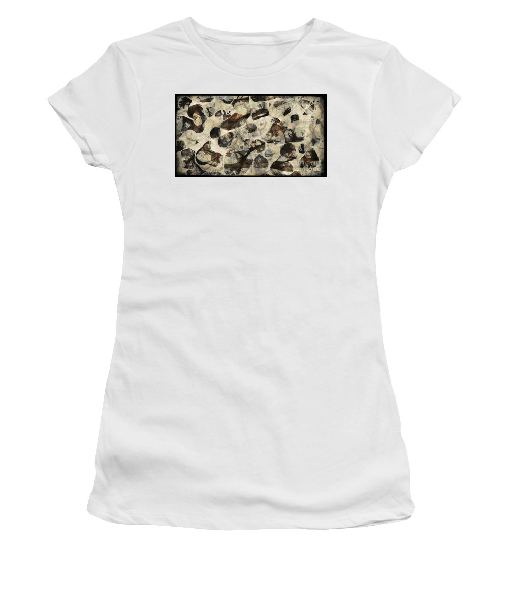 Abstraction Women's T-Shirt (Athletic Fit) featuring the digital art Abstraction 2322 by Marek Lutek
