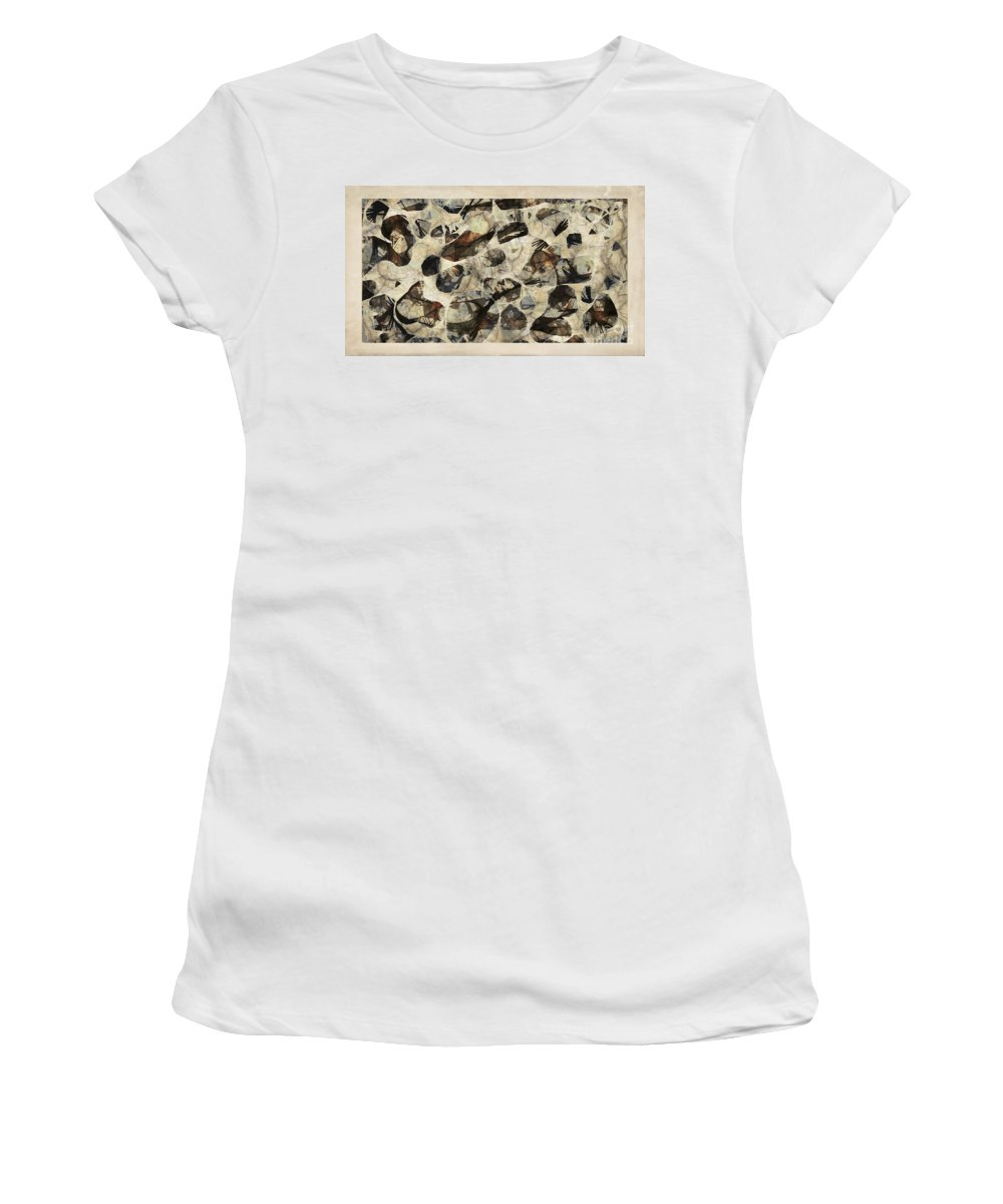 Abstraction Women's T-Shirt (Athletic Fit) featuring the digital art Abstraction 2324 by Marek Lutek