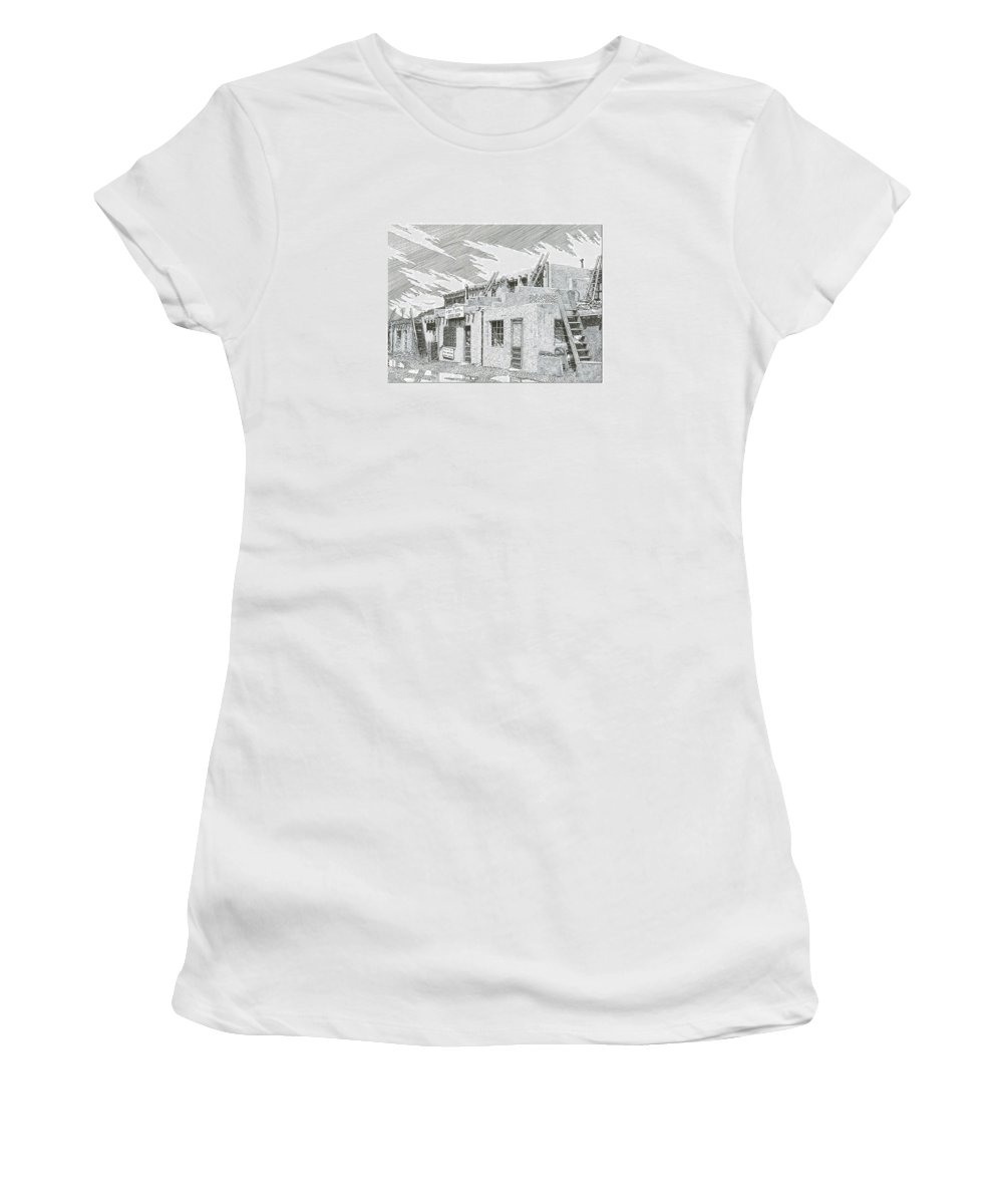 Images Of Acoma Sky City Acoma Women's T-Shirt featuring the drawing Acoma Sky City by Jack Pumphrey