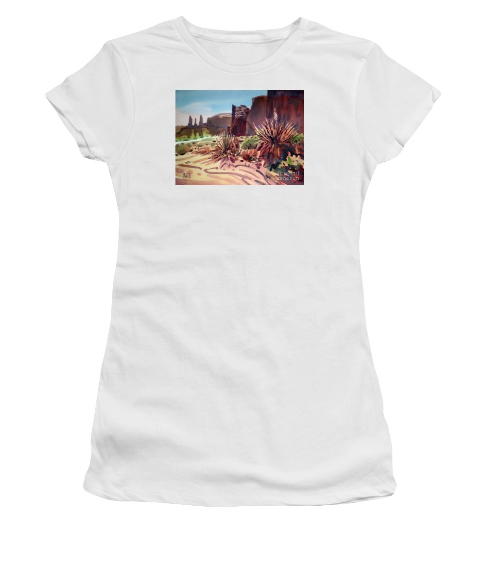 Monument Valley Women's T-Shirt (Athletic Fit) featuring the painting Across Monument Valley by Donald Maier