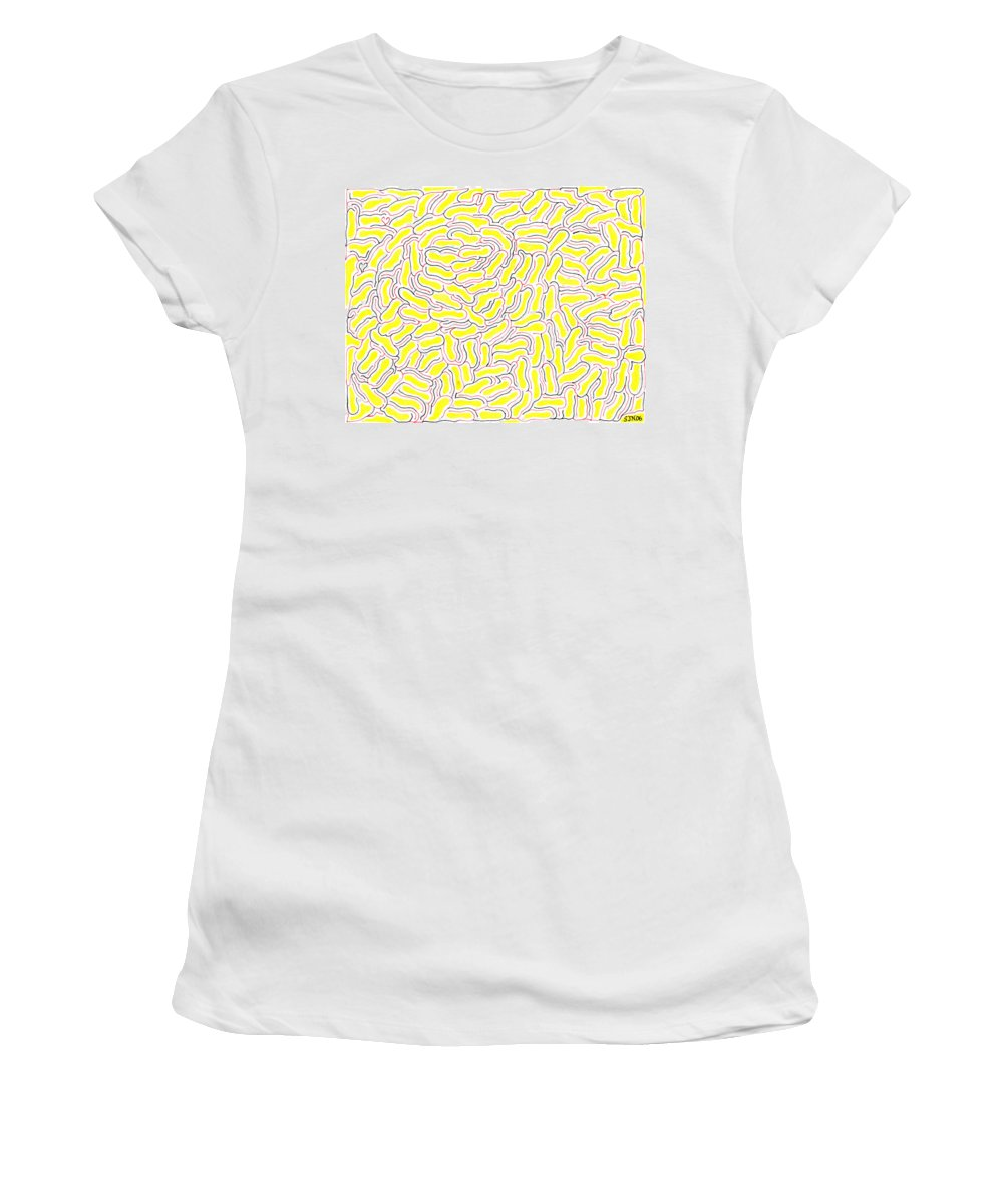 Mazes Women's T-Shirt (Athletic Fit) featuring the drawing Adrift by Steven Natanson