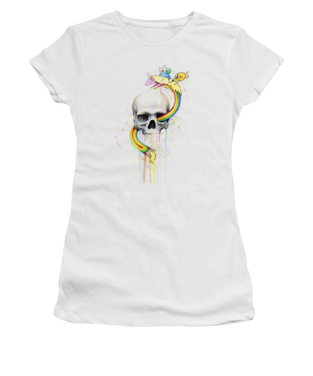 Adventure Women's T-Shirt featuring the painting Adventure Time Skull Jake Finn Lady Rainicorn Watercolor by Olga Shvartsur