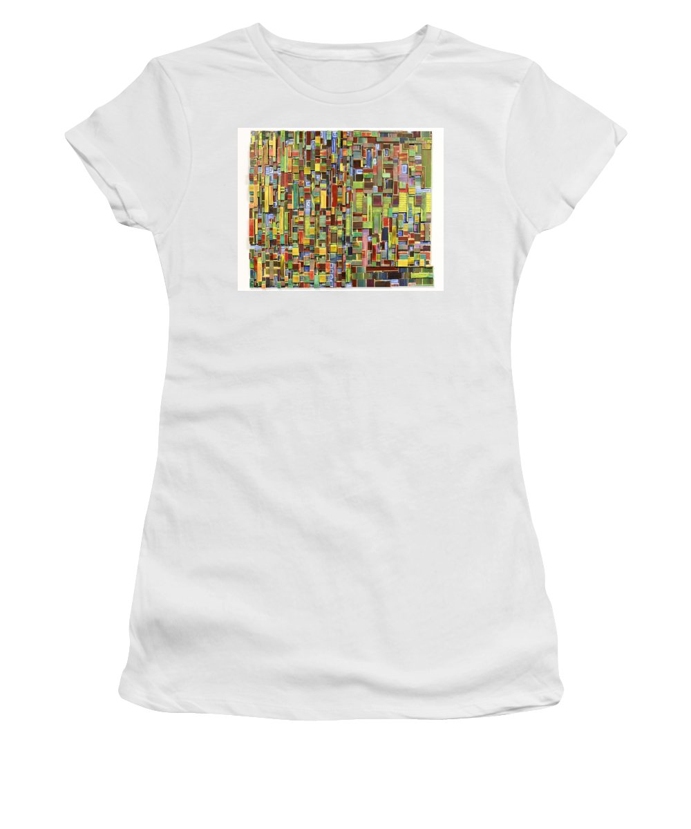 Abstract Art Women's T-Shirt featuring the painting Advice From Dead Relatives In Dreams by Bobby Zeik