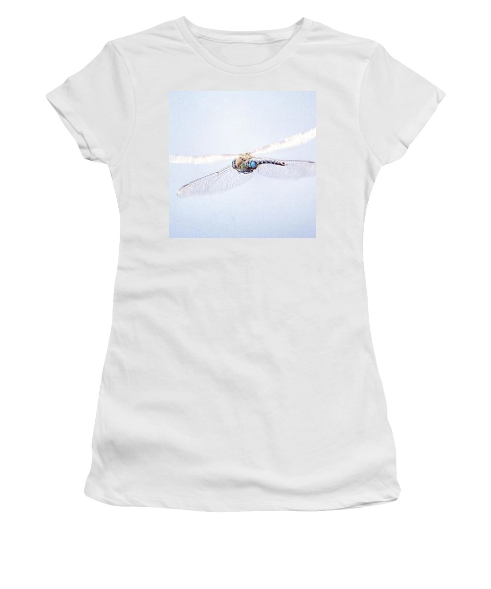 Dragonfly Women's T-Shirt featuring the photograph Aeshna Juncea - Common Hawker In by John Edwards