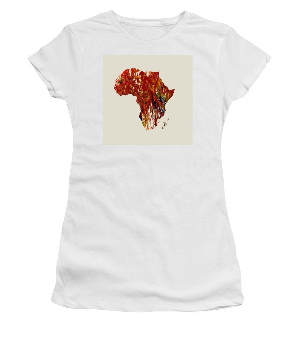 Africa Women's T-Shirt featuring the painting Africa 1b by Brian Reaves