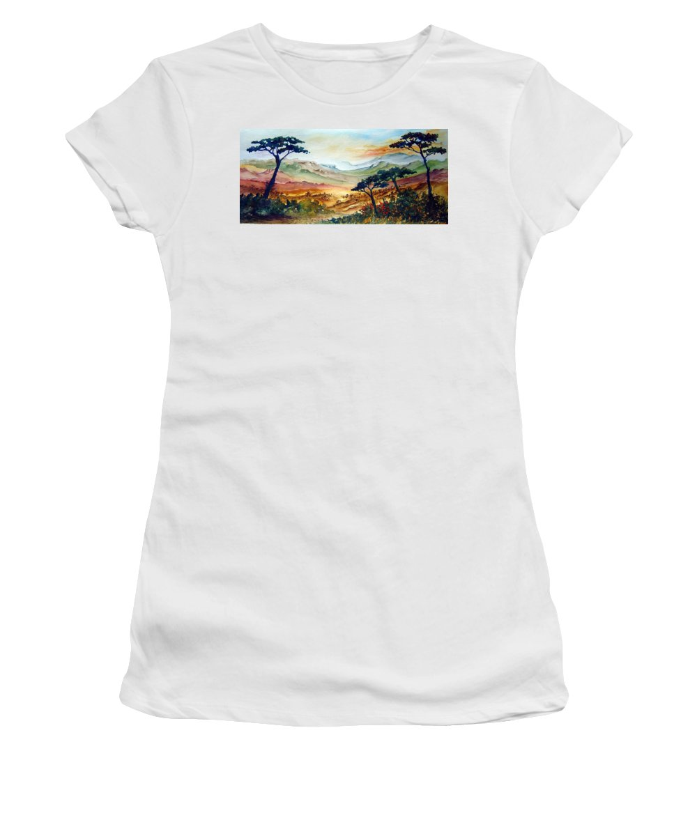 Africa Women's T-Shirt (Athletic Fit) featuring the painting Africa by Joanne Smoley
