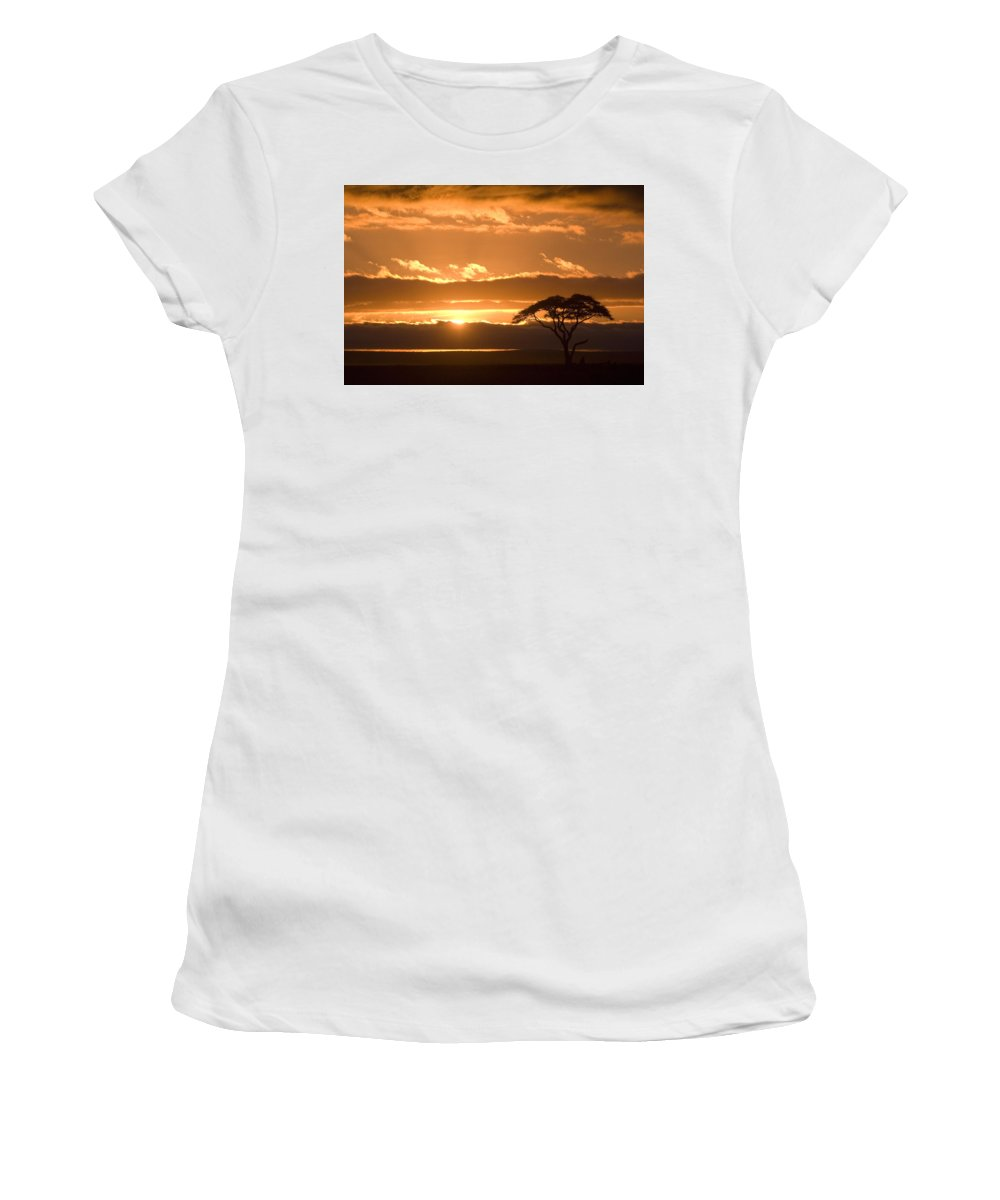 Africa Women's T-Shirt (Athletic Fit) featuring the photograph African Sunrise by Michele Burgess