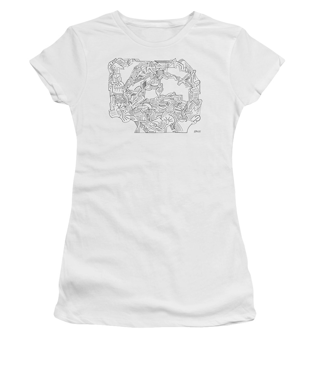 Mazes Women's T-Shirt (Athletic Fit) featuring the drawing Aftermath by Steven Natanson