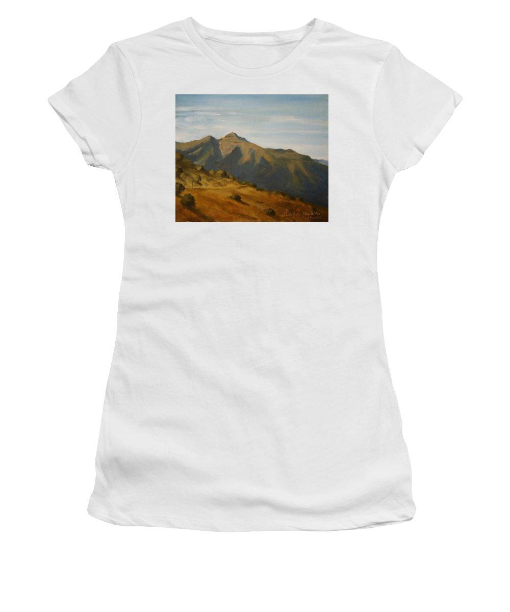 Oil Canvas Landscape Bhatghar Sahyadri Mountain Afternoon Bhatghar Women's T-Shirt (Athletic Fit) featuring the painting Afternoon At Bhatghar by Mandar Marathe