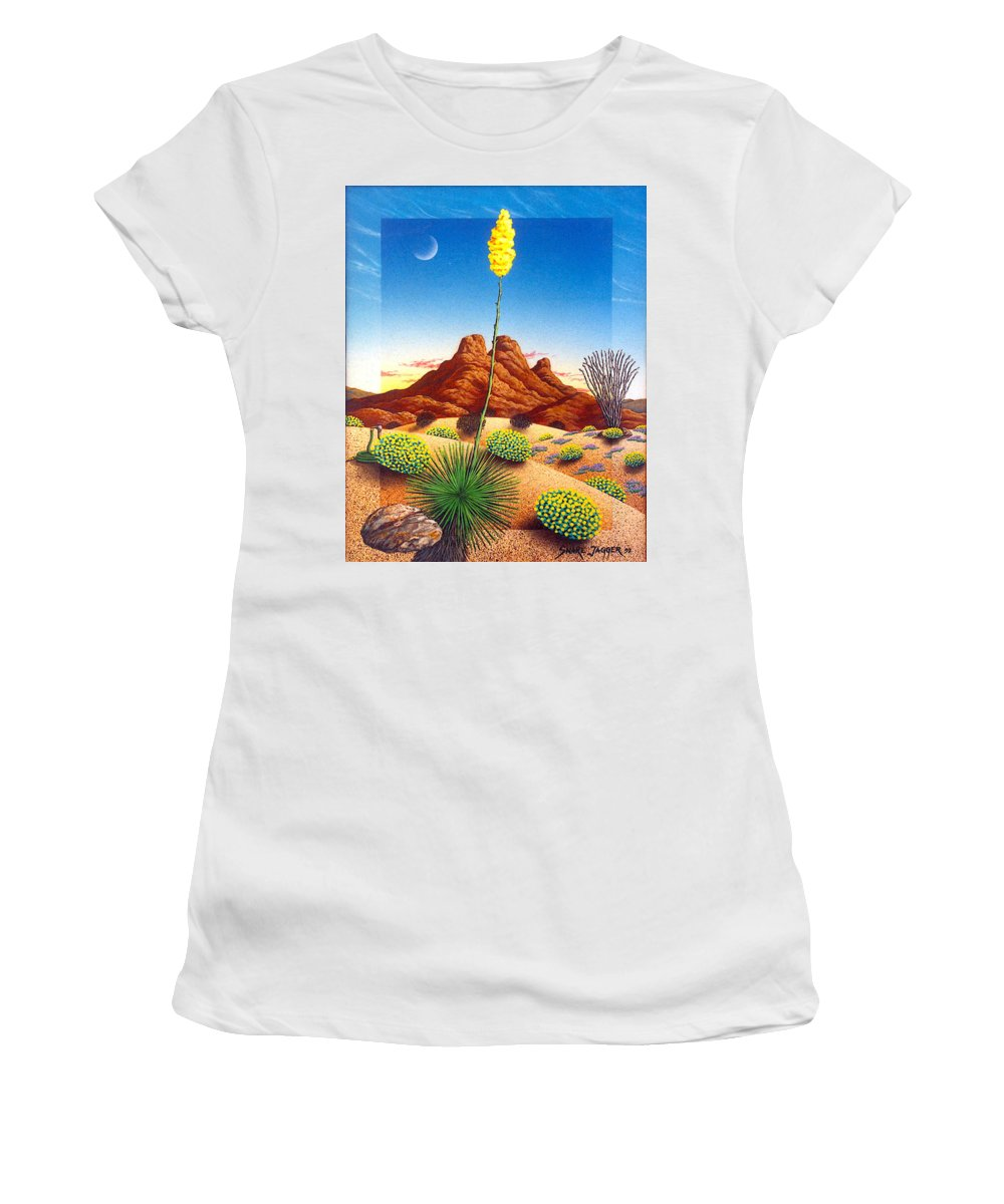 Agave Cactus Women's T-Shirt (Athletic Fit) featuring the painting Agave Bloom by Snake Jagger