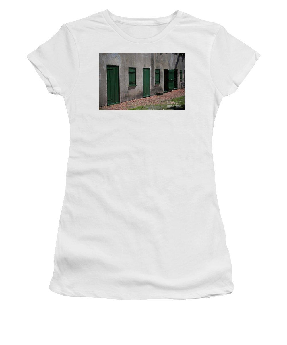 Aiken Rhett House Women's T-Shirt (Athletic Fit) featuring the photograph Aiken Doors by Dale Powell