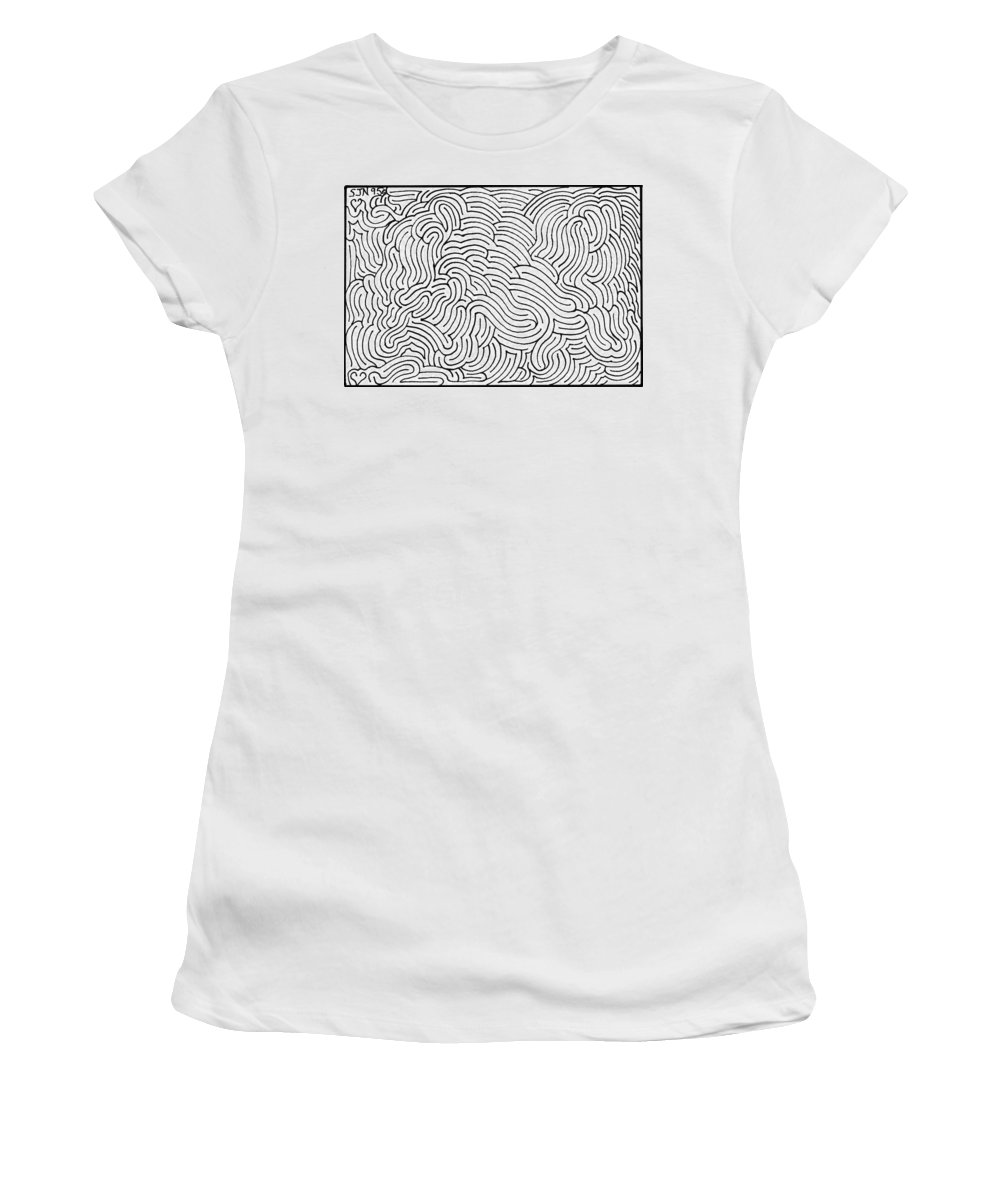 Mazes Women's T-Shirt (Athletic Fit) featuring the drawing Aimless by Steven Natanson
