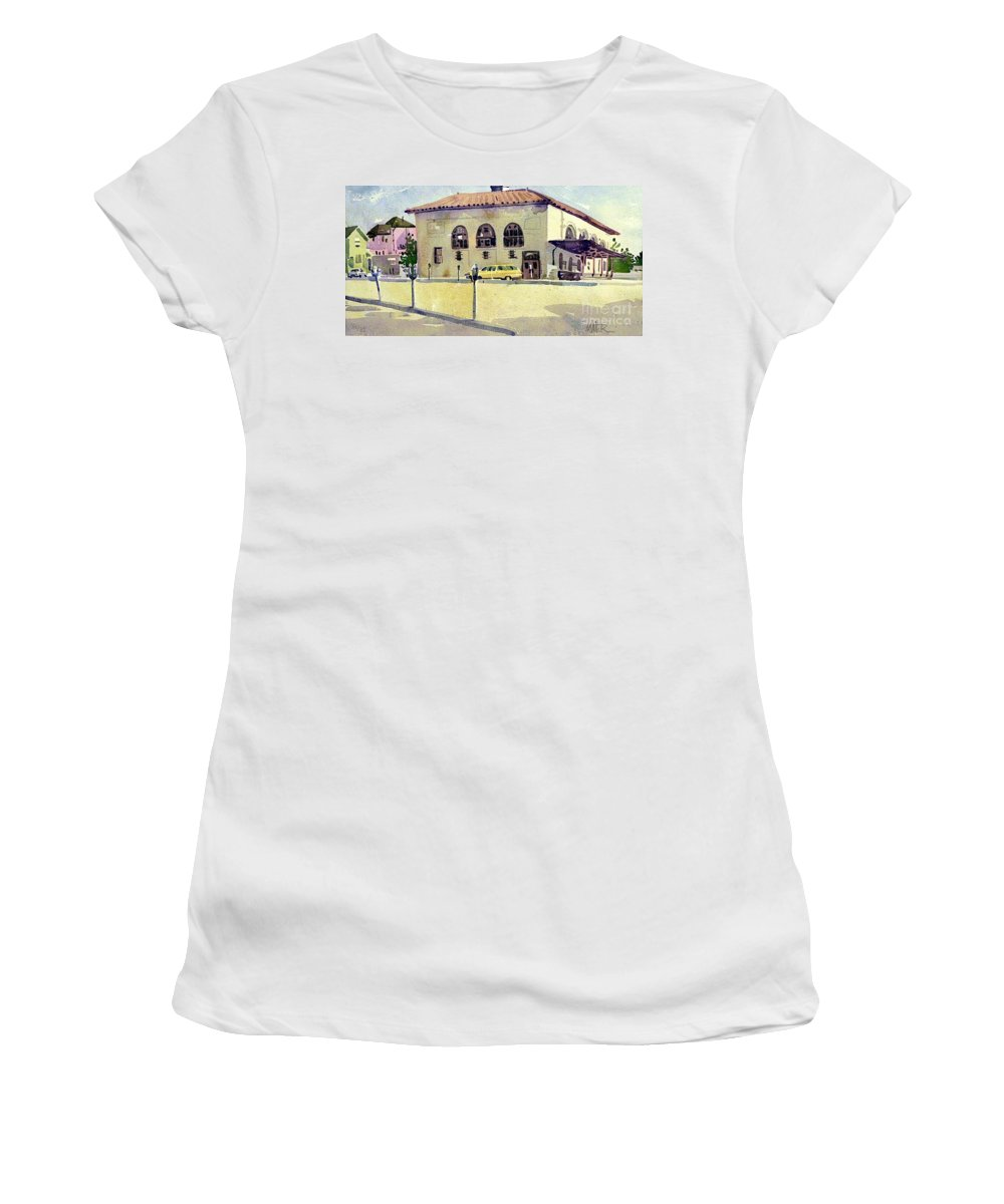 Us Post Office Women's T-Shirt (Athletic Fit) featuring the painting Alameda Post Office by Donald Maier