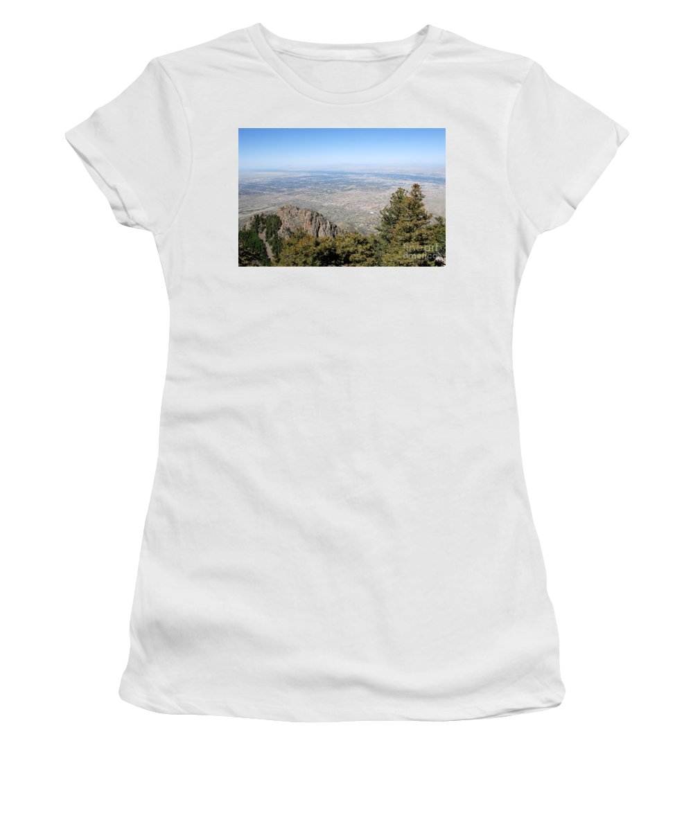 Albuquerque Women's T-Shirt featuring the photograph Albuquerque And The Rio Grande by David Lee Thompson