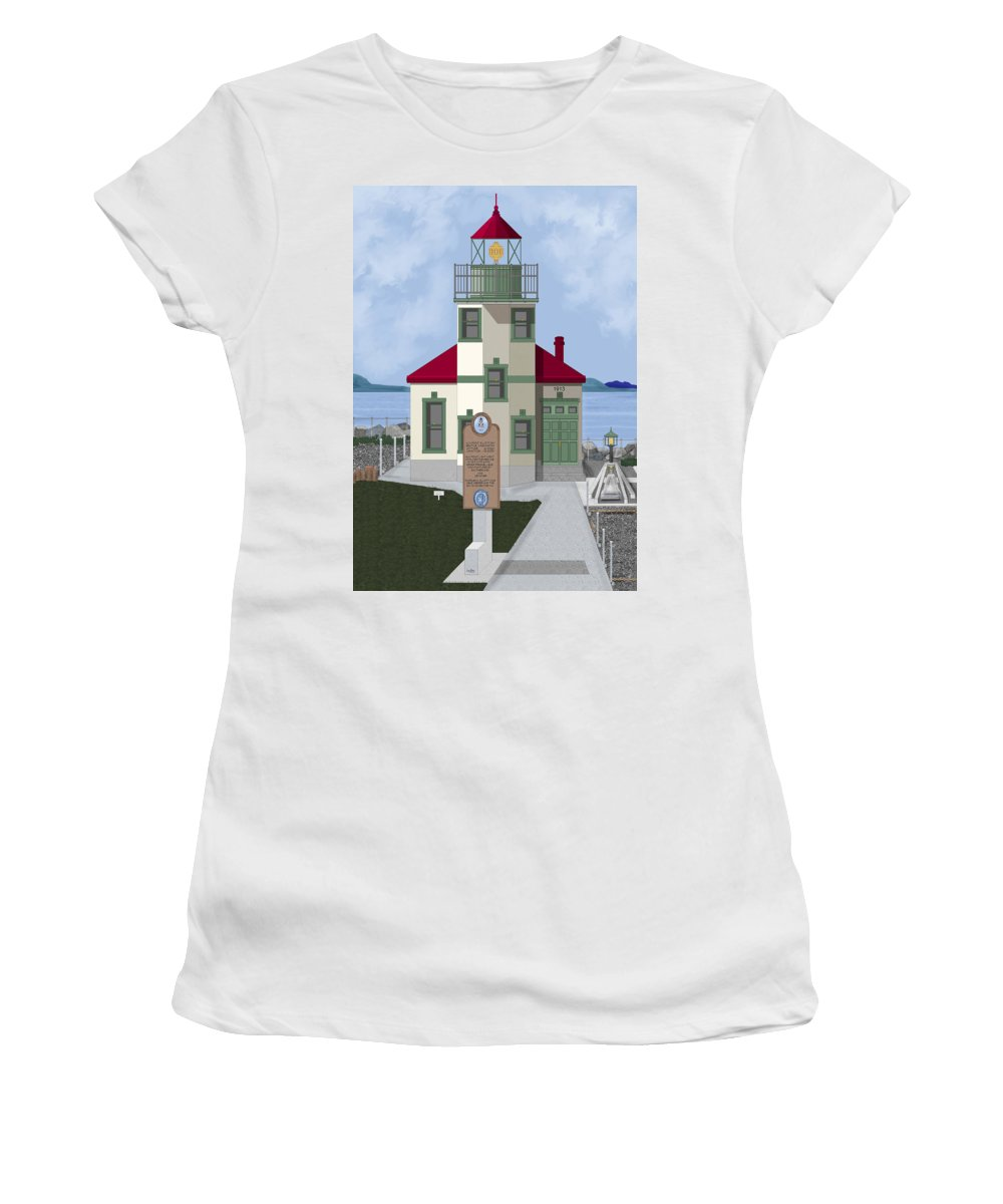 Lighthouse Women's T-Shirt (Athletic Fit) featuring the painting Alki Point On Elliott Bay by Anne Norskog