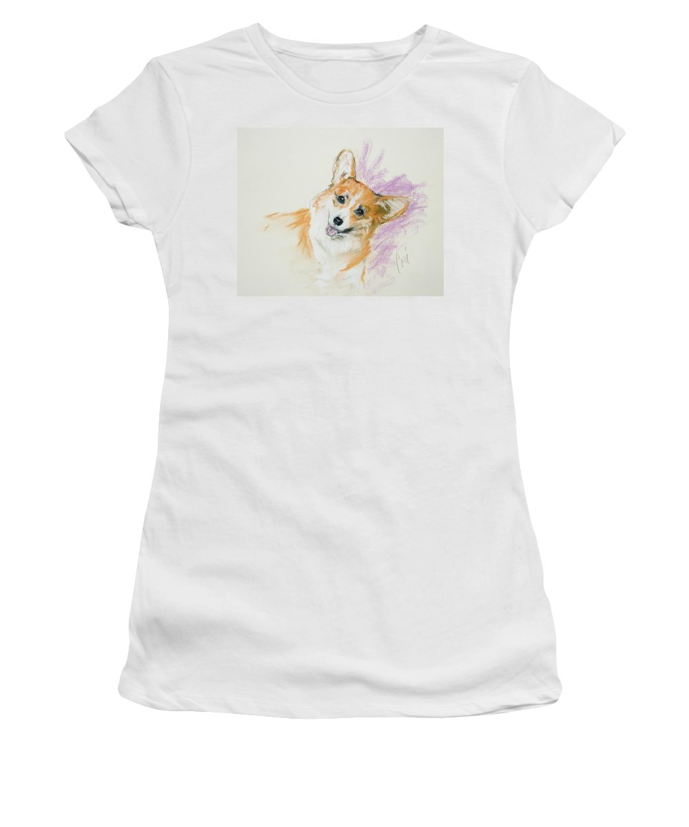 Corgi Women's T-Shirt (Athletic Fit) featuring the drawing All Smiles by Cori Solomon