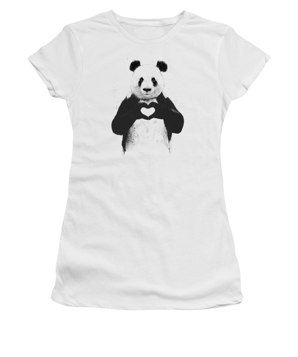 Panda Women's T-Shirt featuring the mixed media All you need is love by Balazs Solti