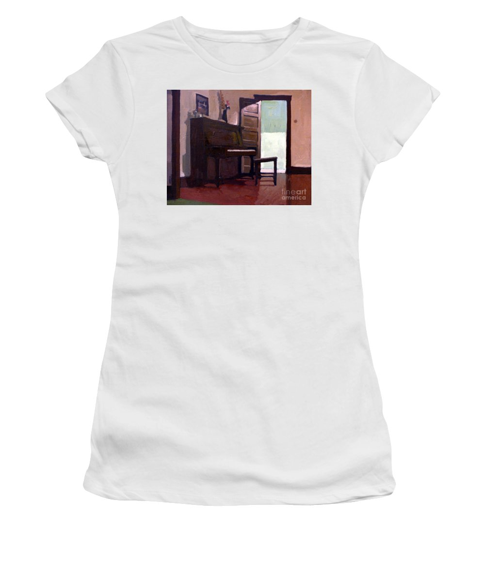 Piano Women's T-Shirt featuring the painting Allison's Piano by Donald Maier